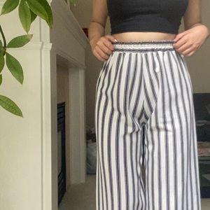 ASOS White Black Striped Flowy Wide Leg Pants